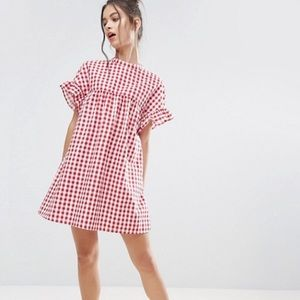 ASOS red and white checker dress